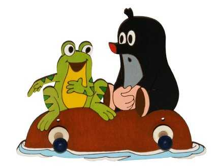 DoDo Dřevěný 2 věšáček Krtek a žába