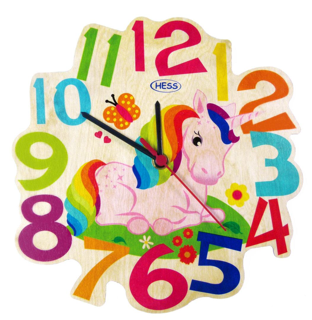 Hess Dětské dřevěné hodiny jednorožec