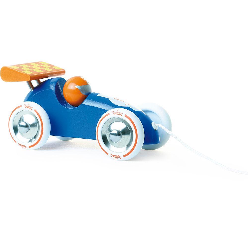 Vilac Tahací závodní auto tyrkysové s oranžovým křídlem