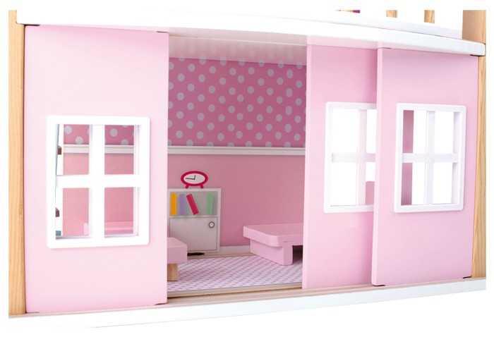 Small Foot Dřevěný domeček pro panenky modrá střecha