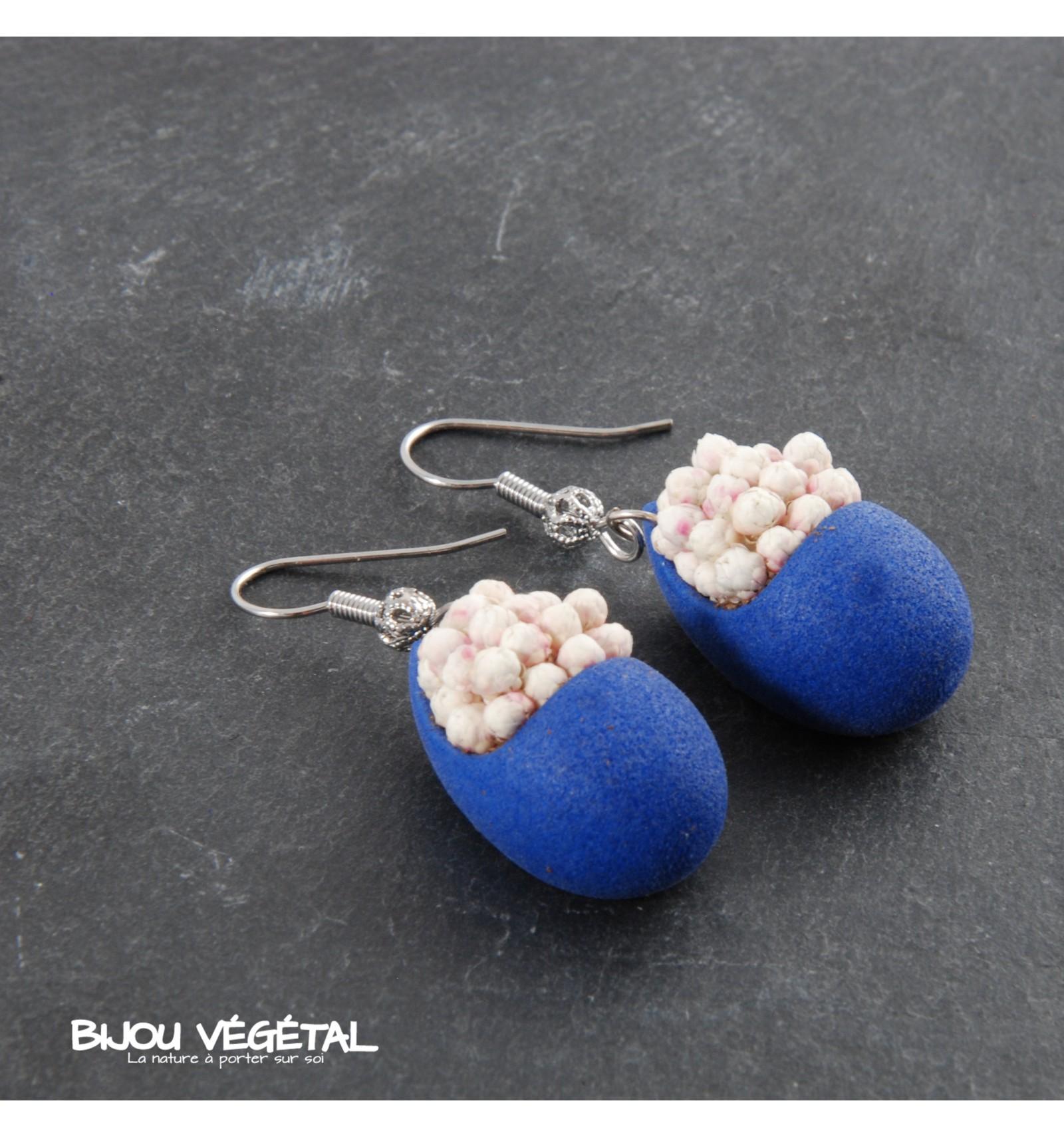 Živé šperky - Náušnice Slza modré s trvalými bílými květy