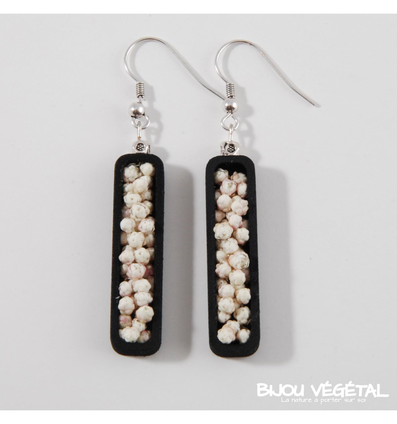 Živé šperky - Náušnice Jardiniere černé s trvalými bílými květy