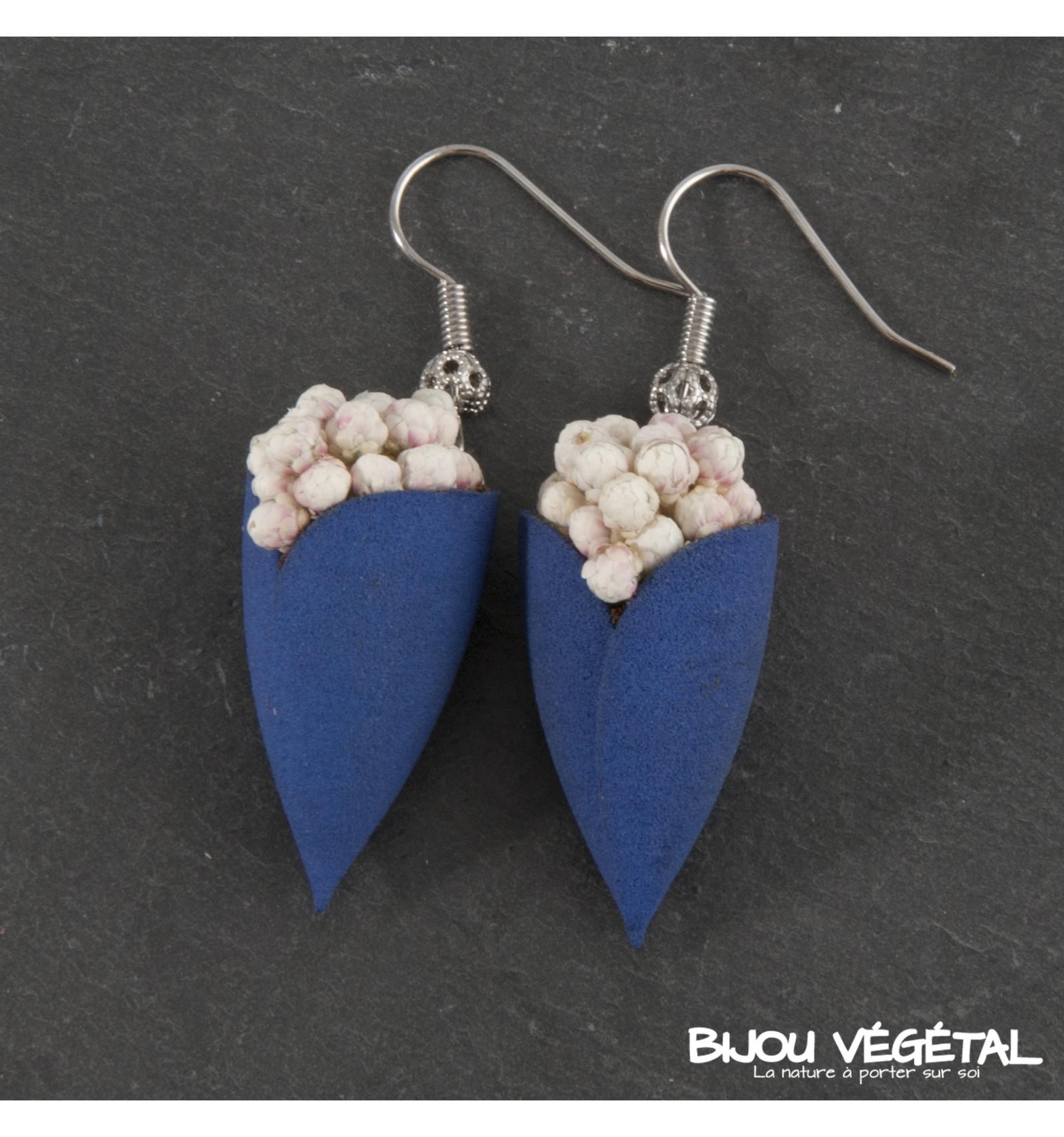 Živé šperky - Náušnice Tulipán modré s trvalými bílými kvšty