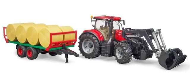 Bruder Traktor Case IH Optum 300 CVX s čelním nakladačem a přepravníkem na balíky