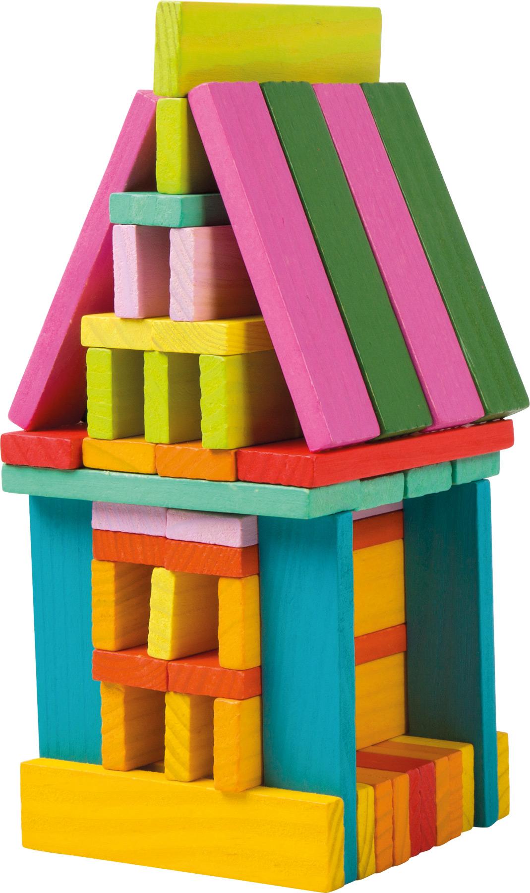 Small Foot Dřevěné stavební kostky barevné 75ks