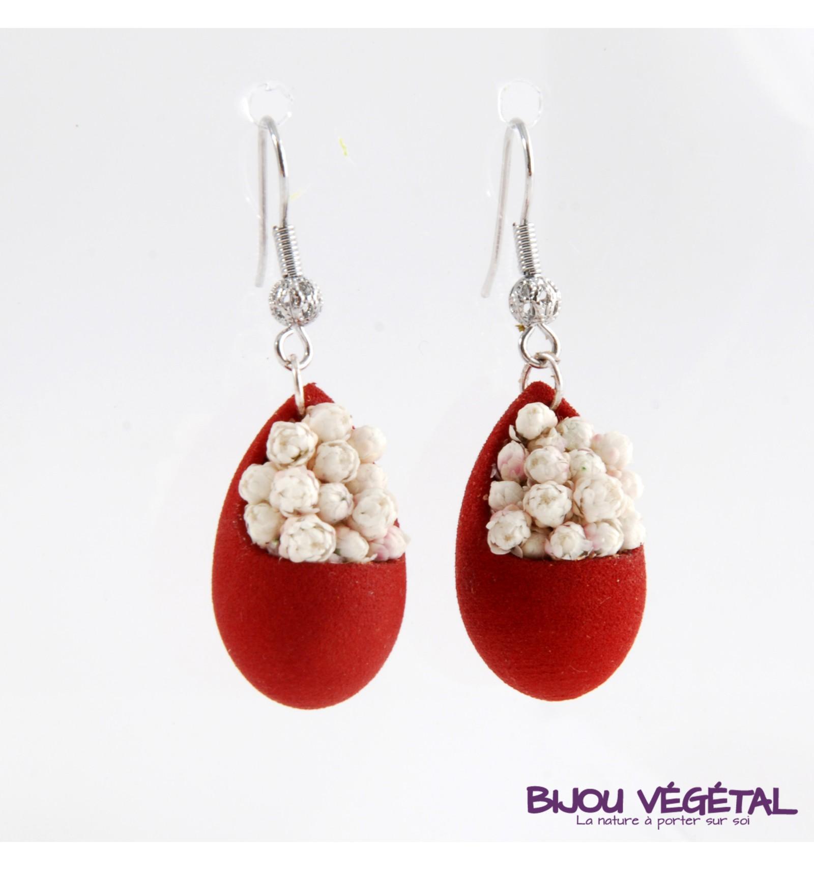 Živé šperky - Náušnice Slza červené  s trvalými bílými květy