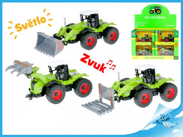 Kovový traktor zelený
