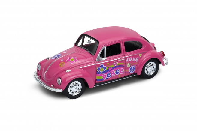 Welly Volkswagen Beetle model 1:34 růžový duhový