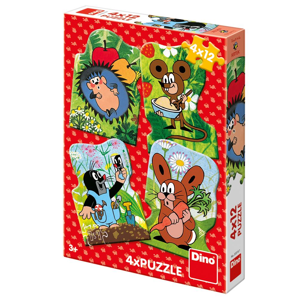 Dino Puzzle Krteček 4x12 dílků