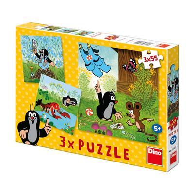 Papírové puzzle 3x55 dílků Krteček a kalhotky