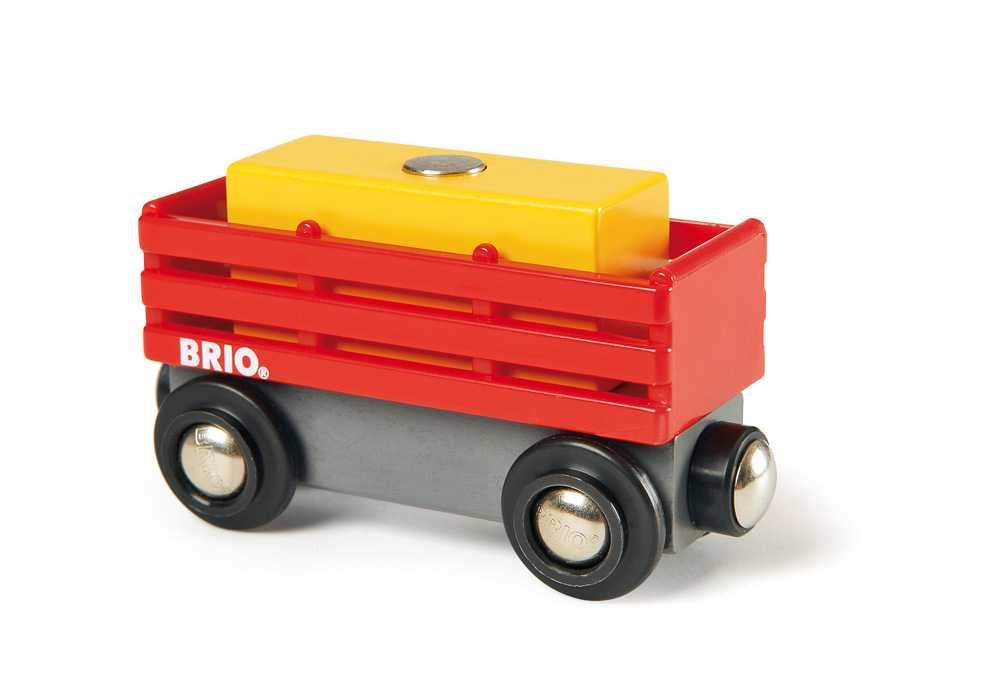 Příslušenství vláčkodráhy - Červený vagón se žlutým nákladem