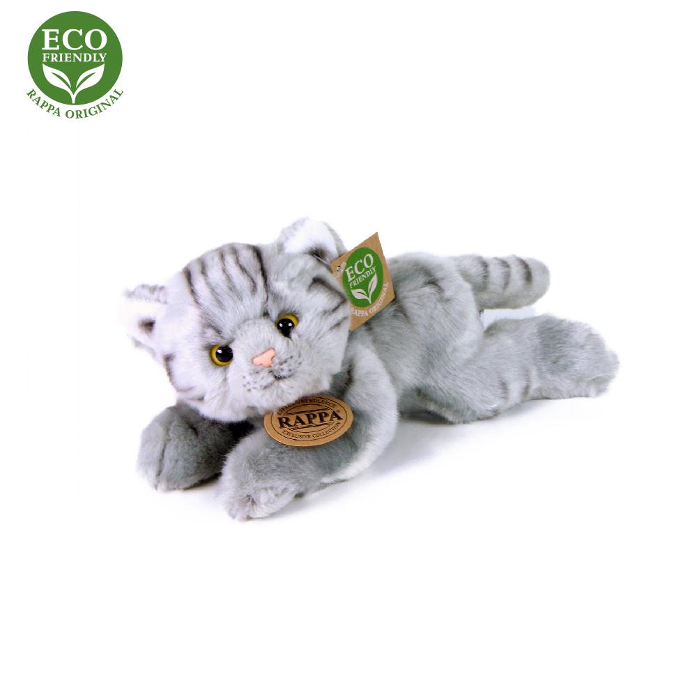 Rappa Plyšová kočka šedá ležící 16 cm ECO-FRIENDLY