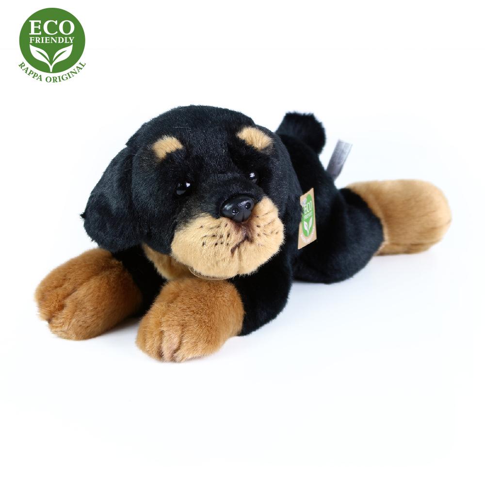 Rappa Plyšový pes rotvajler ležící 30 cm ECO-FRIENDLY