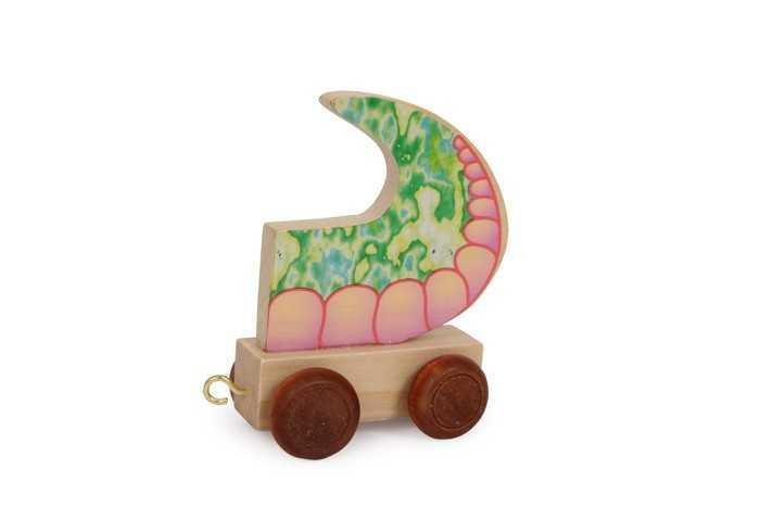 Dřevěné hračky - Vláček abeceda - Vagónek dračí ocas