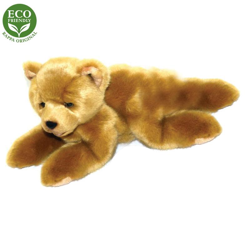 Rappa Plyšový medvěd světle hnědý ležící15 cm ECO-FRIENDLY