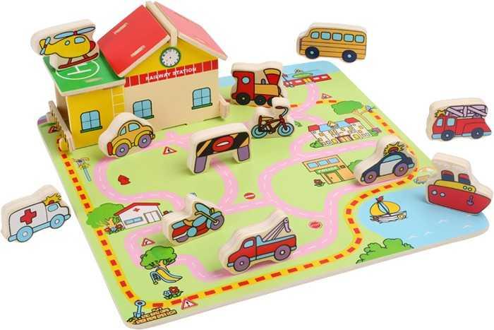 Dřevěné puzzle Doprava