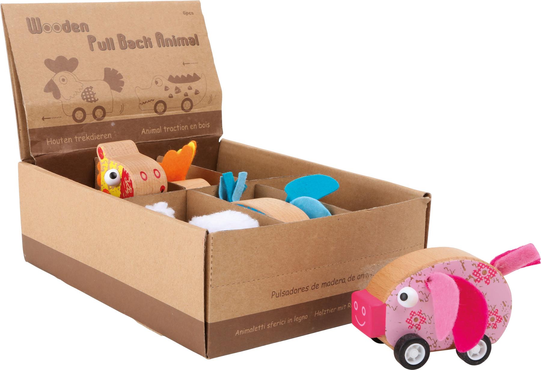 Displej Dřevěné auta zvířátka 6 ks