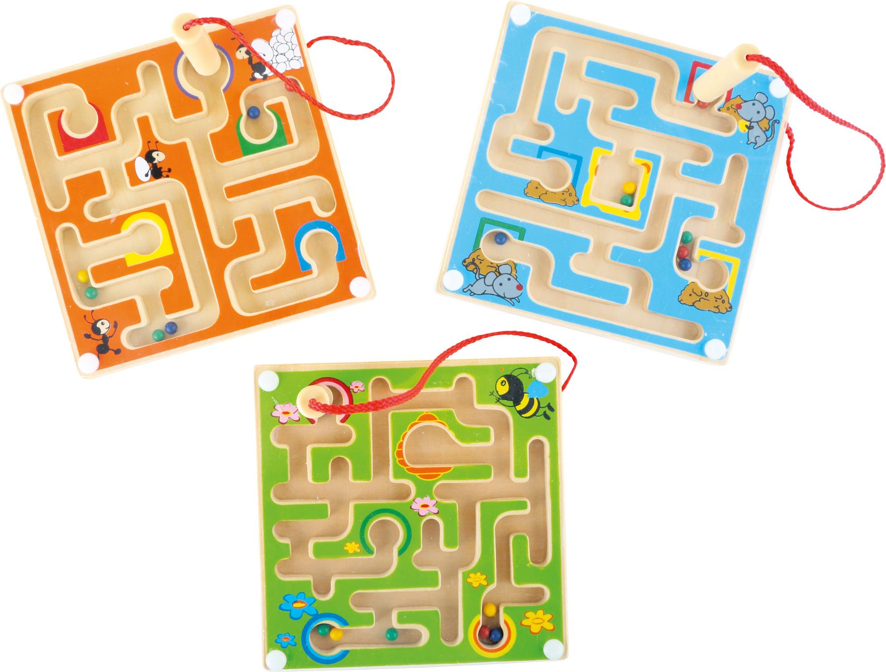 Dřevěný kuličkový magnetický labyrint 1 kus zelená