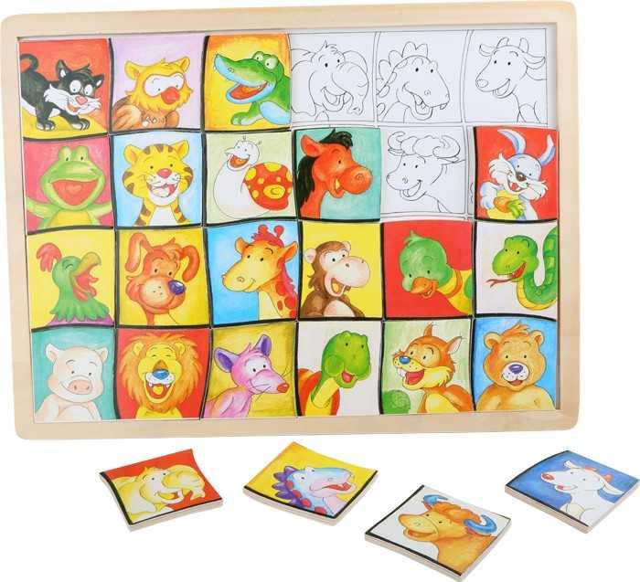 Dřevěná hračka - Puzzle Zvířecí hlavy