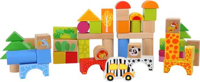 Dřevěné hračky - Dřevěné stavební kostky Zoo