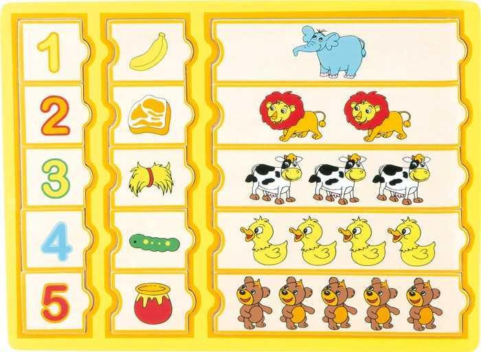 Dřevěné hračky - Puzzle - Počítání se zvířátky