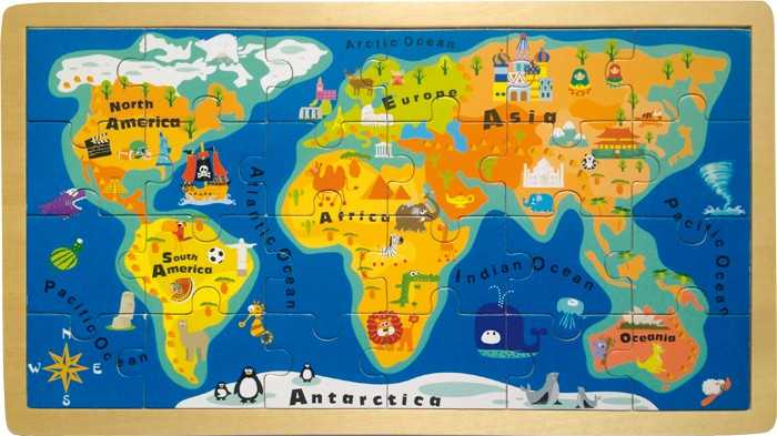 Small Foot Vkládací puzzle jednoduchá velká mapa světa