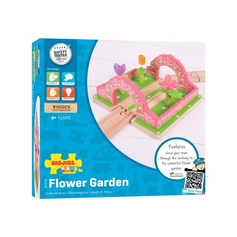 Bigjigs Rail dřevěná vláčkodráha - Květinová zahrada