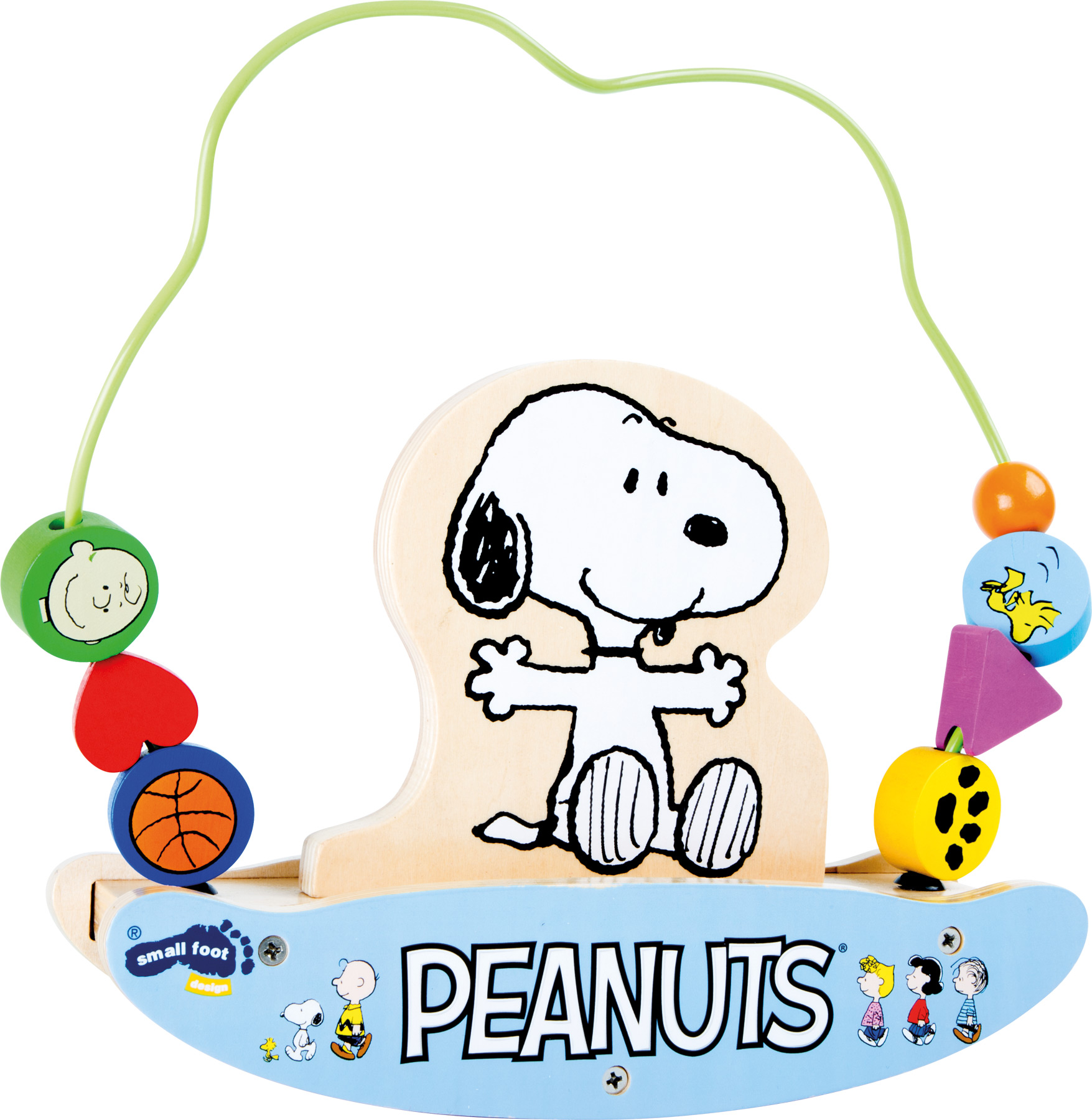 Dřevěná motorická houpačka Peanuts