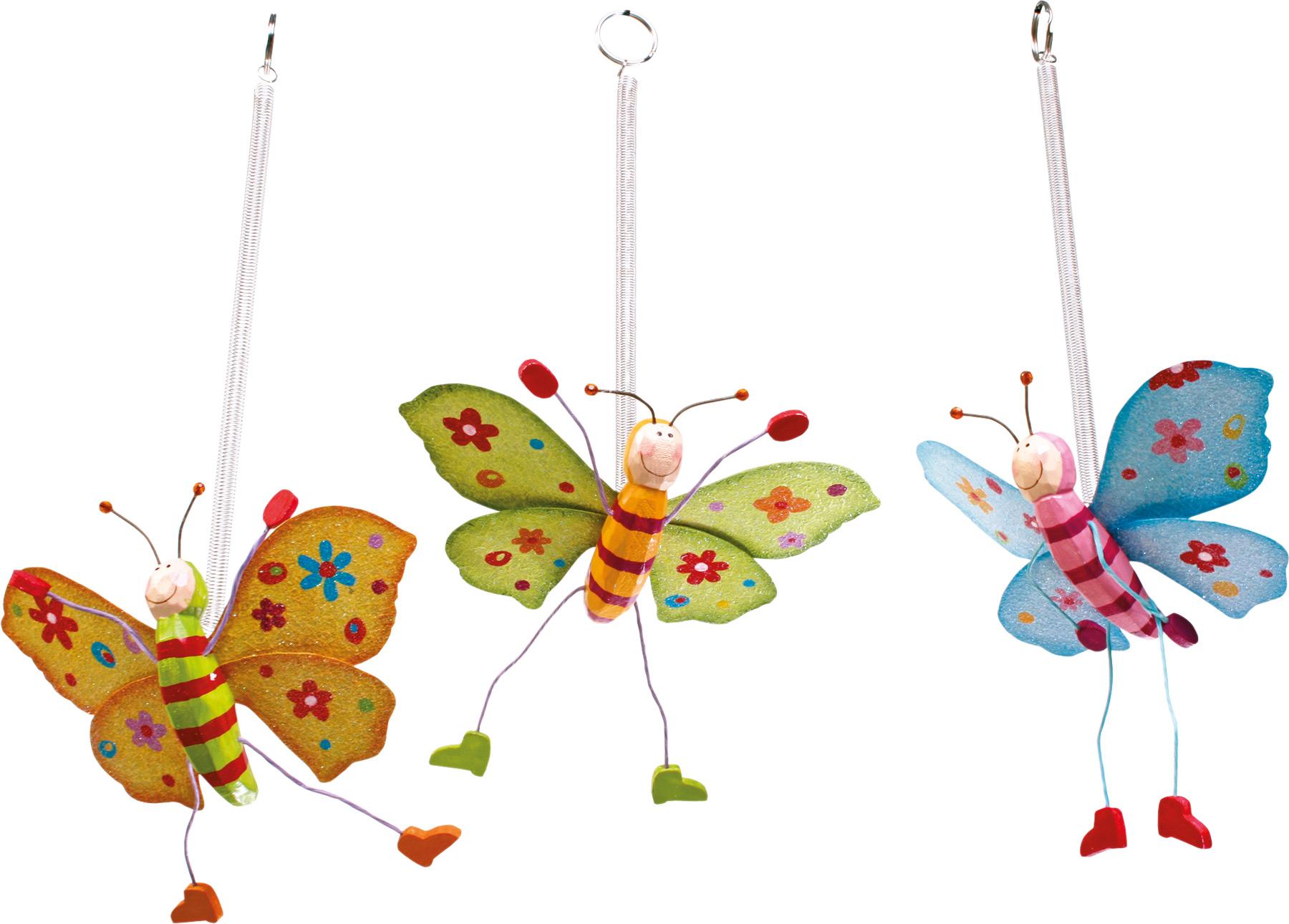 Dřevěná dekorace - Jumper Barevní motýli 3 ks