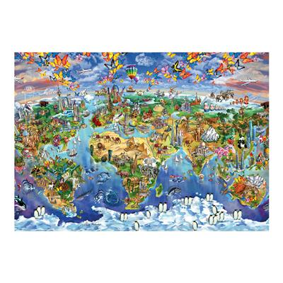 Dino puzzle ilustrovaná mapa světa 300 XL dílků