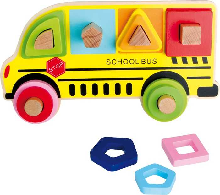 Dřevěná hračka - Třídící hra školní autobus