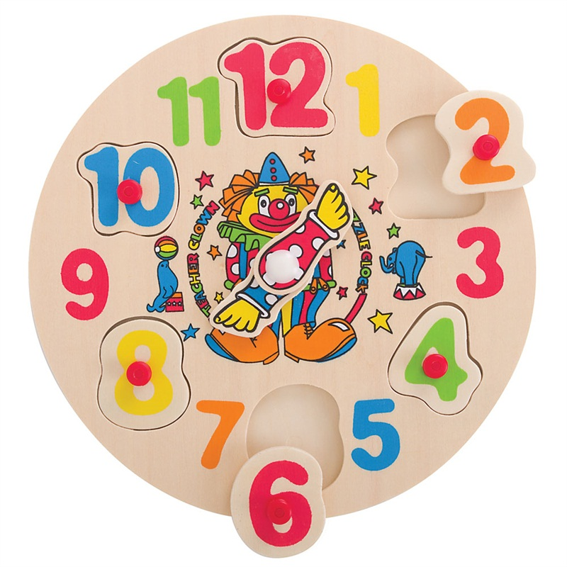 Bigjigs Toys Dřevěné hodiny s klaunem