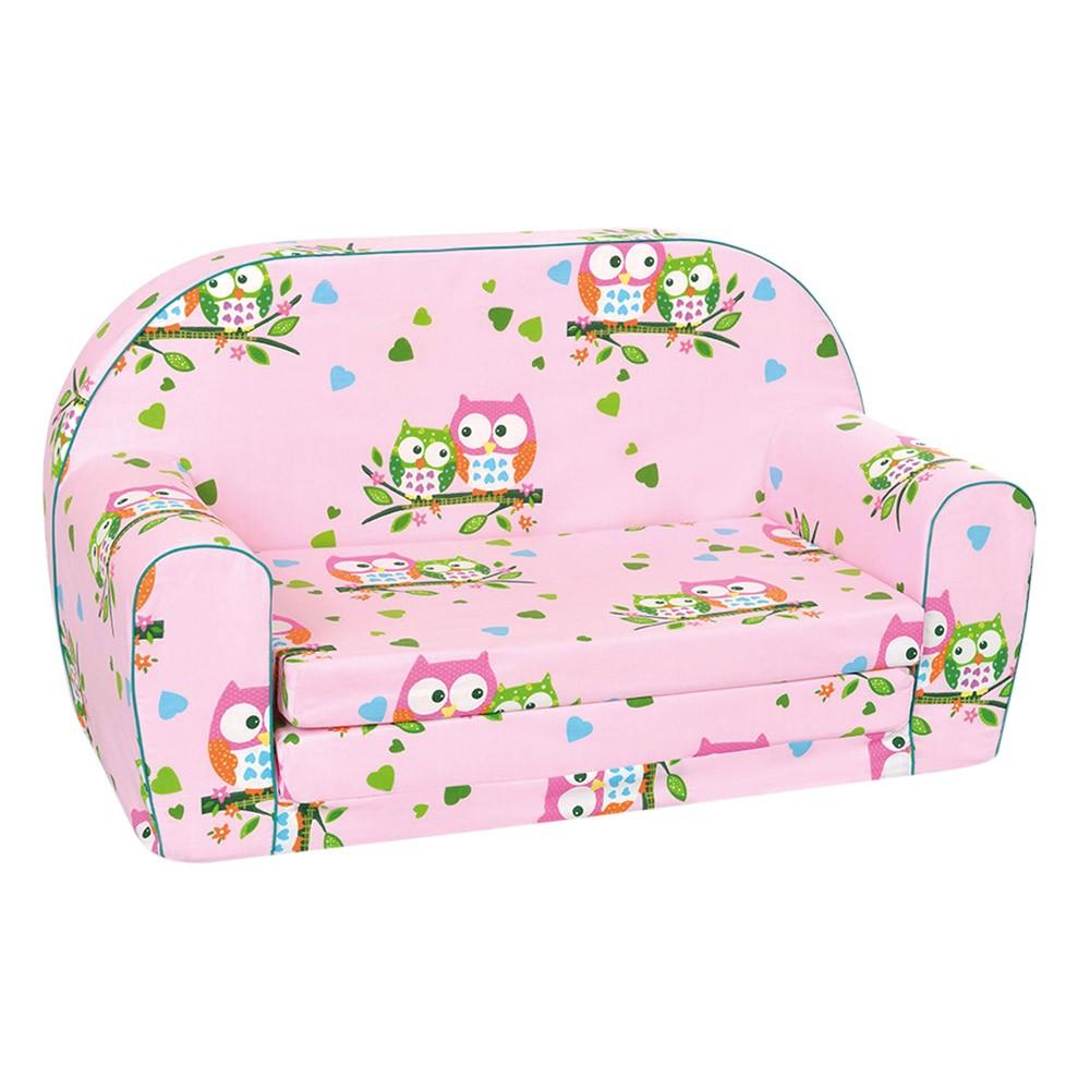 Bino Mini pohovka růžová sovičky