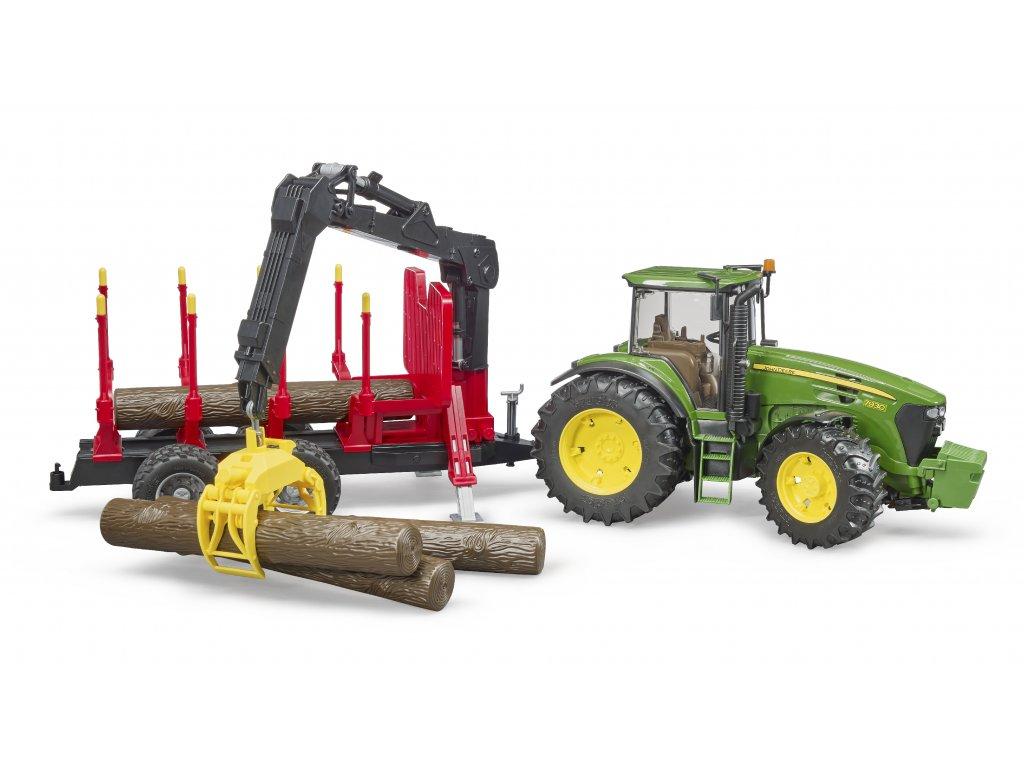 Bruder Traktor John Deere 7930 s přepravníkem na dřevo