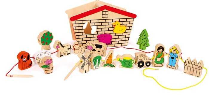 Small Foot Dřevěná motorická hračka provlékací hra farma