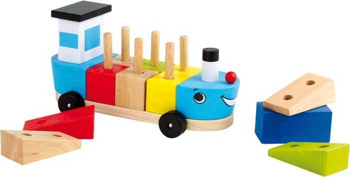 Dřevěná motorická hra - Loď se stavebními kostky