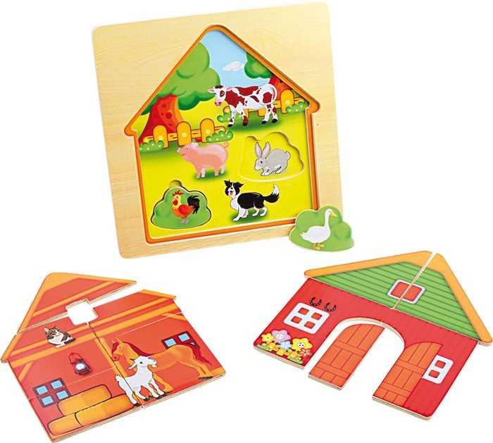 Small Foot Dřevěná hračka vrstvené puzzle Stodola