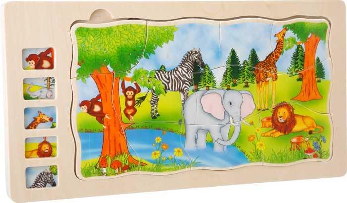Dřevěná hračka - Vrstvené puzzle Safari