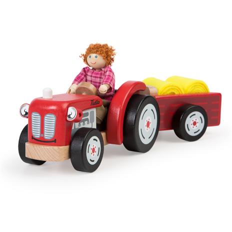 Tidlo Dřevěný traktor s vlečkou