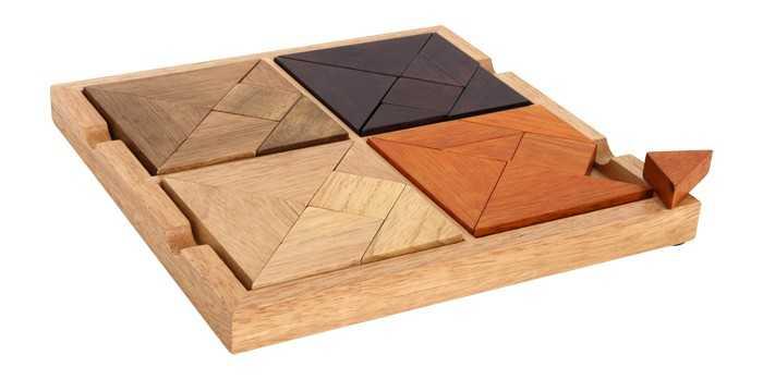 Dřevěné hlavolamy - Puzzle 4 v 1 - Tangram