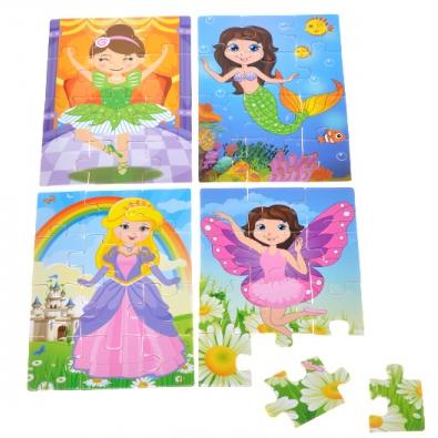Dřevěné puzzle pro holky 4x12 ks v krabičce