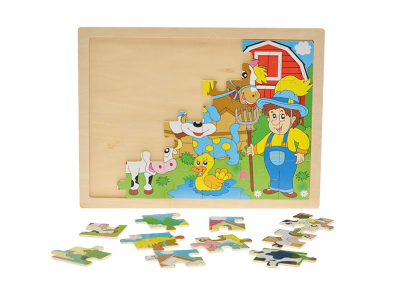 Dřevěné puzzle statek 24ks