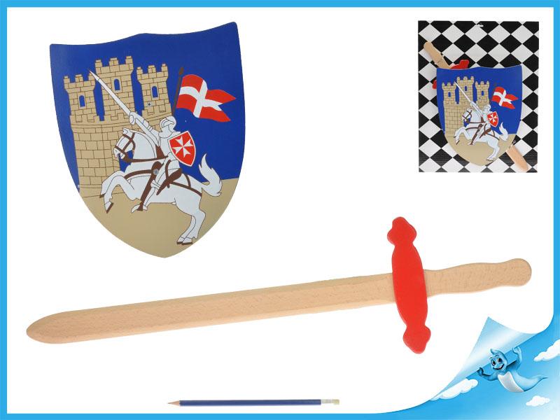 Dřevěný meč se štítem