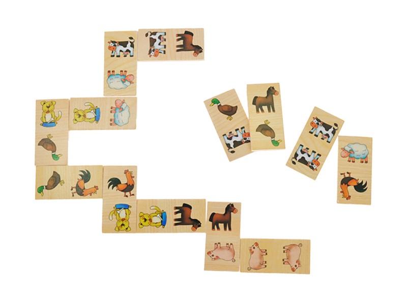Dřevěné domino v krabičce Zvířátka na statku