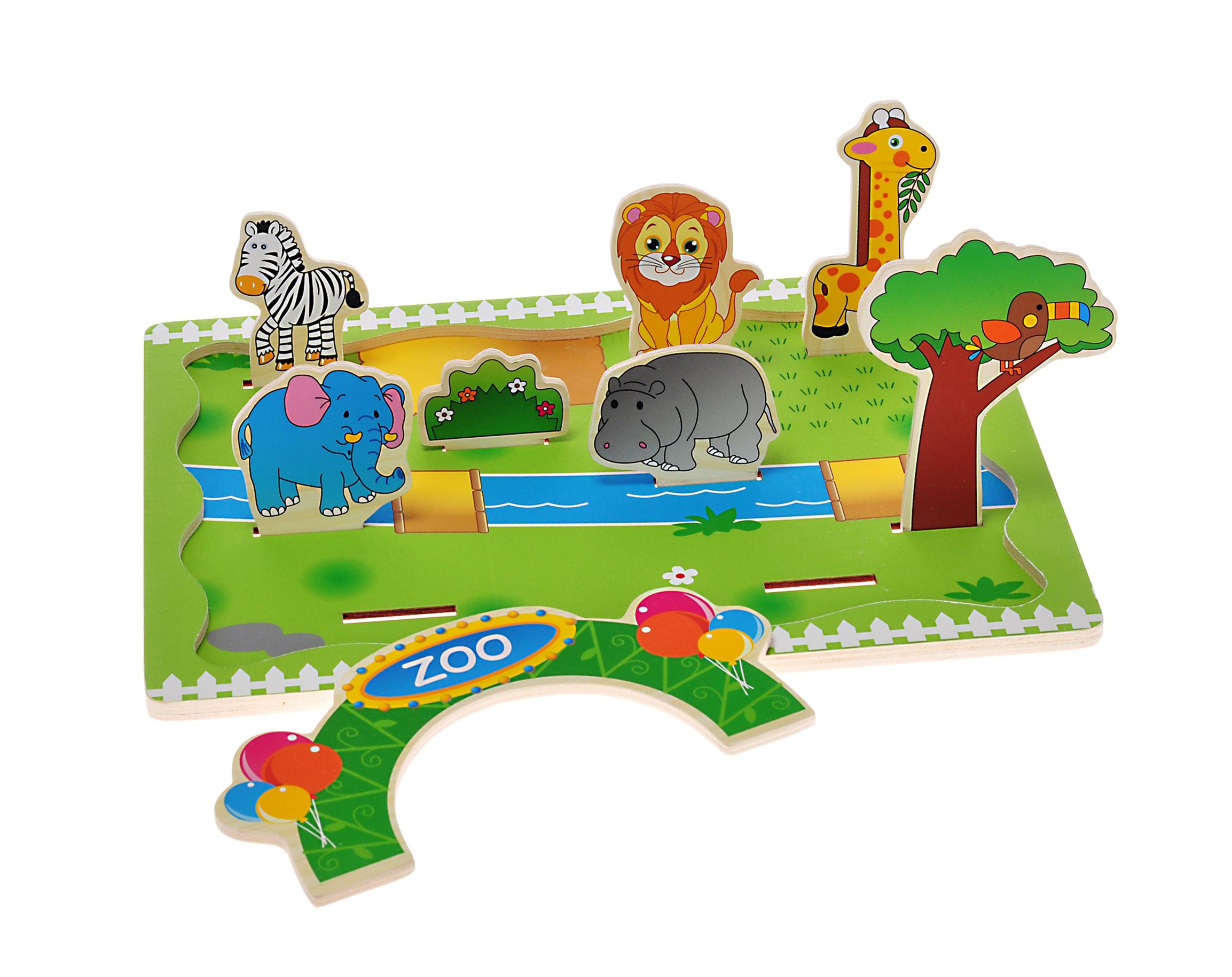 Dřevěná 3D vkládačka Zoo