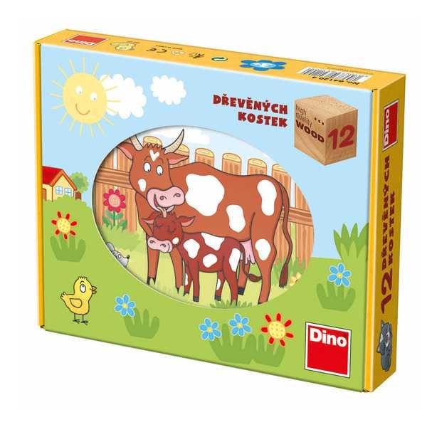 Dino Dřevěné obrázkové kostky domácí zvířátka