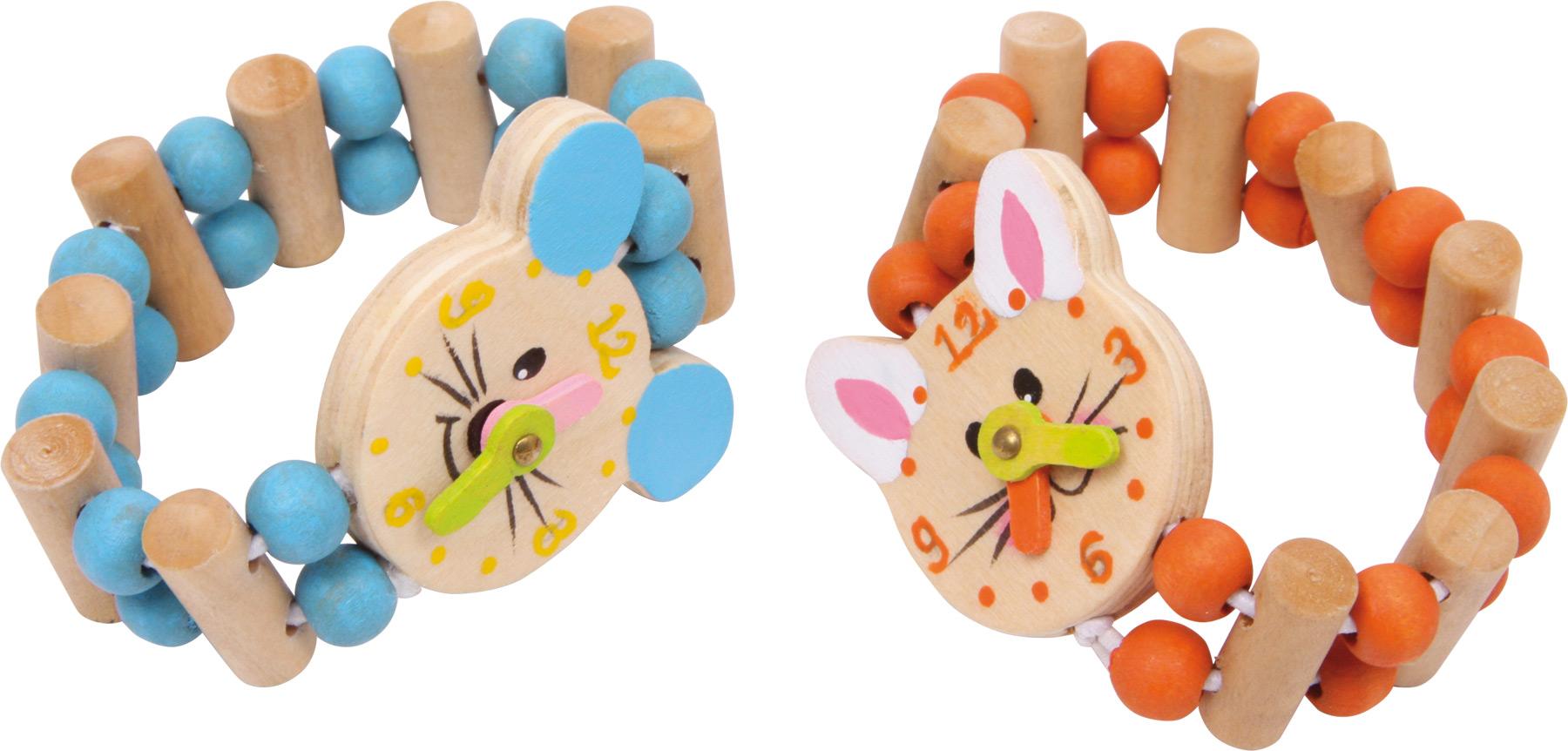 Small Foot Sada dřevěný barevný náramek hodinky 2 ks