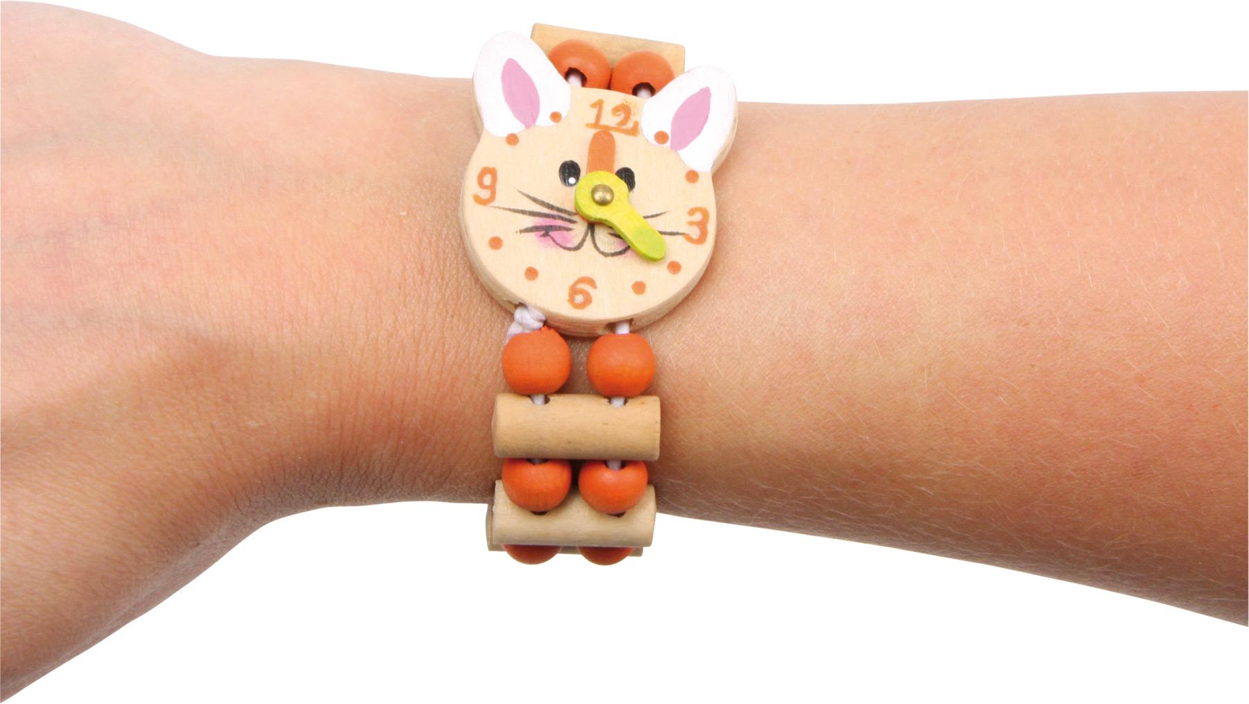 Dřevěný barevný náramek hodinky 1ks oranžová