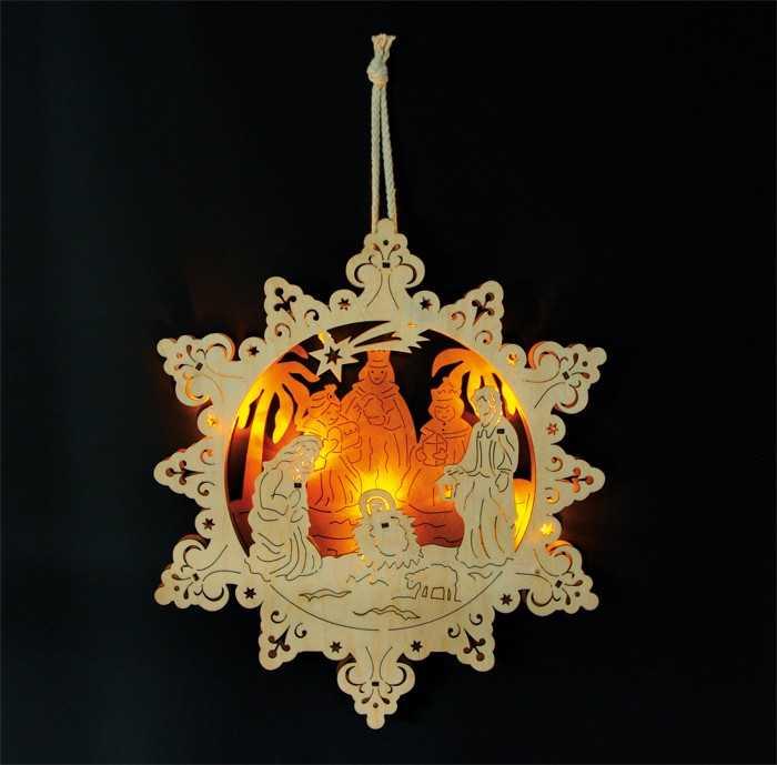 Small Foot Vánoční dekorace lampa jesličky ve hvězdě
