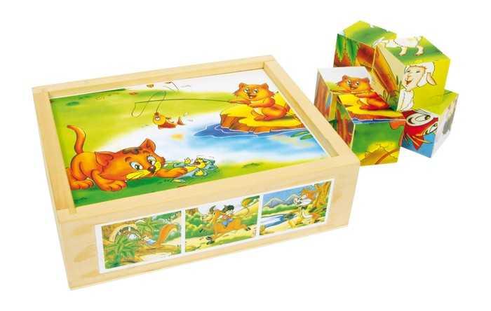 Dřevěné obrázkové kostky - Skládací kostky Zvířecí zábava